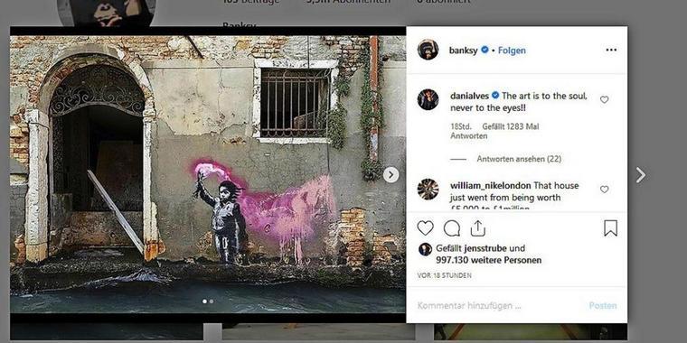 """""""Migrantenkind"""" – Banksy reklamiert weiteres Kunstwerk in Venedig für sich"""